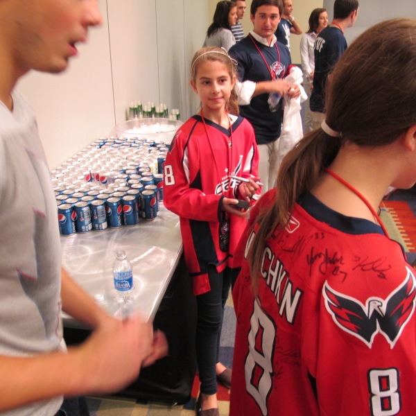 Getting the jersey signed at Meet the Caps event