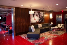 Inside the lobby of the Hotel Rouge