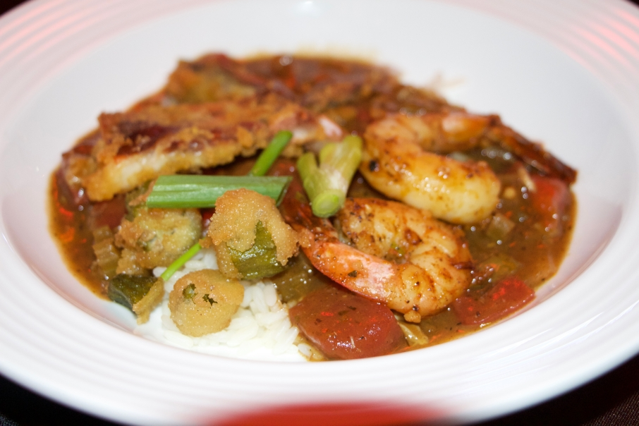 Cajun, with shrimp and oysters pulled fresh out of the Gulf